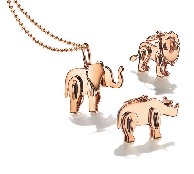 Rose gold pendants from Tiffany's Save the Wild collection. Photo courtesy