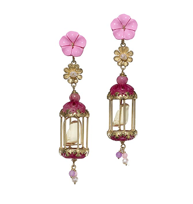 Aviary Classic Earrings by Of Rare Origin composed of various gems and 18K yellow gold vermeil