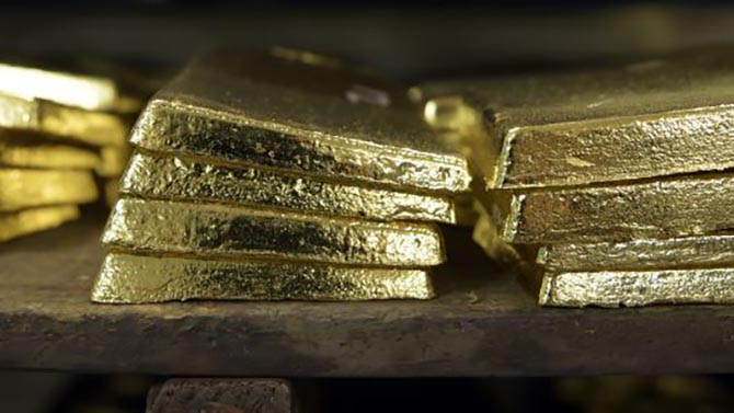 Gold anodes sit stacked in a vault at the Perth Mint Refinery. Photo Getty