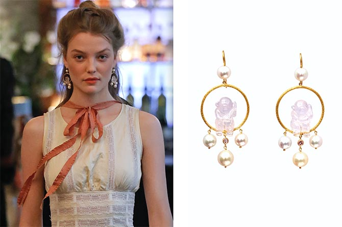 A model at Brock collection wearing the Marie Hélène de Taillac earrings at right. Photo courtesy