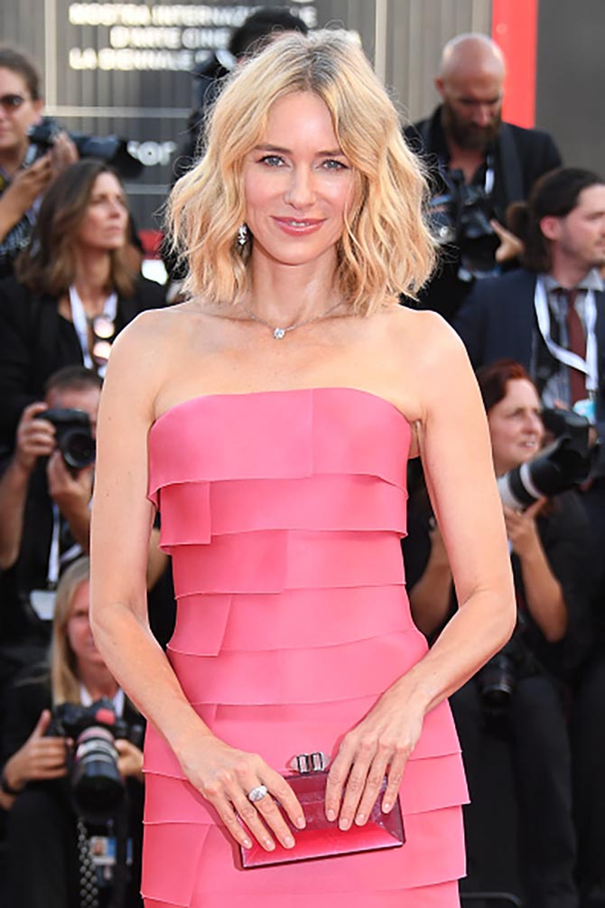 Jury member Naomi Watts at the 'First Man' screening wearing an Armani Prive pink dress and Chopard diamonds.
