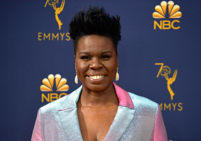 Leslie Jones in opal earrings.