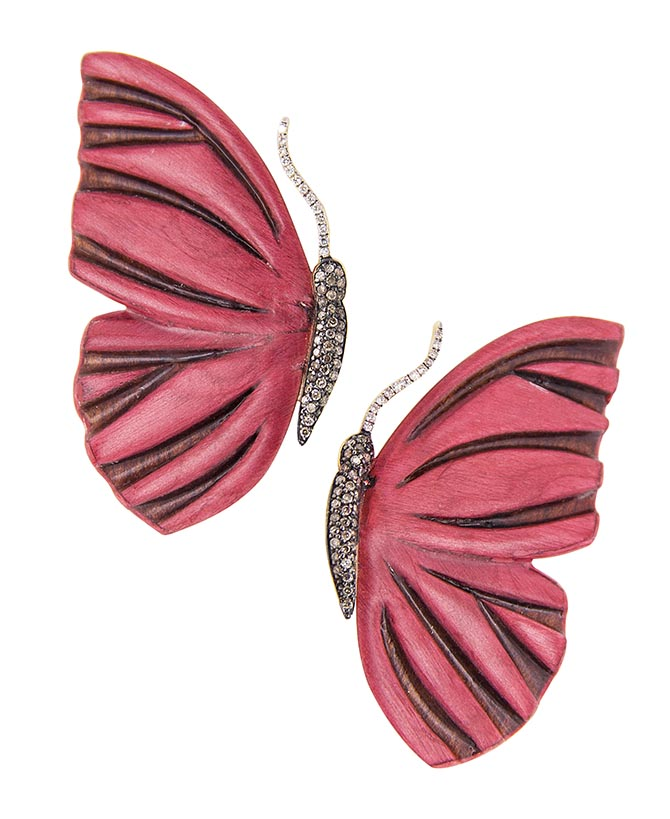 Silvia Furmanovich Botanical Marquetry Butterfly Earrings in diamonds and wood