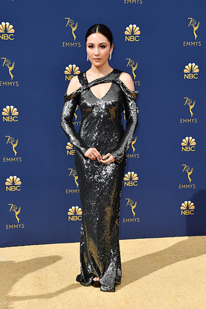 Constance Wu in Harry Winston diamond jewels.