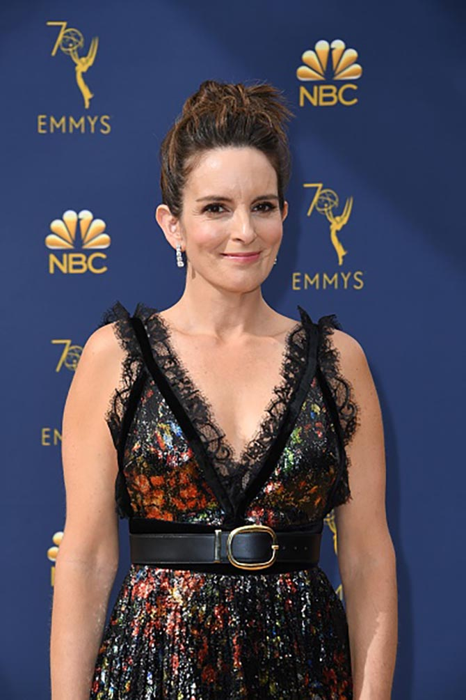 Tina Fey in diamond and platinum earrings by Oscar Heyman.
