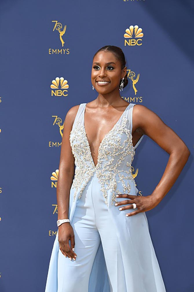 Issa Rae wore diamond jewelry.