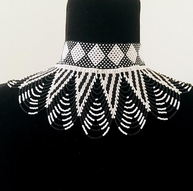 House of Yimama black and white bead necklace Photo courtesy