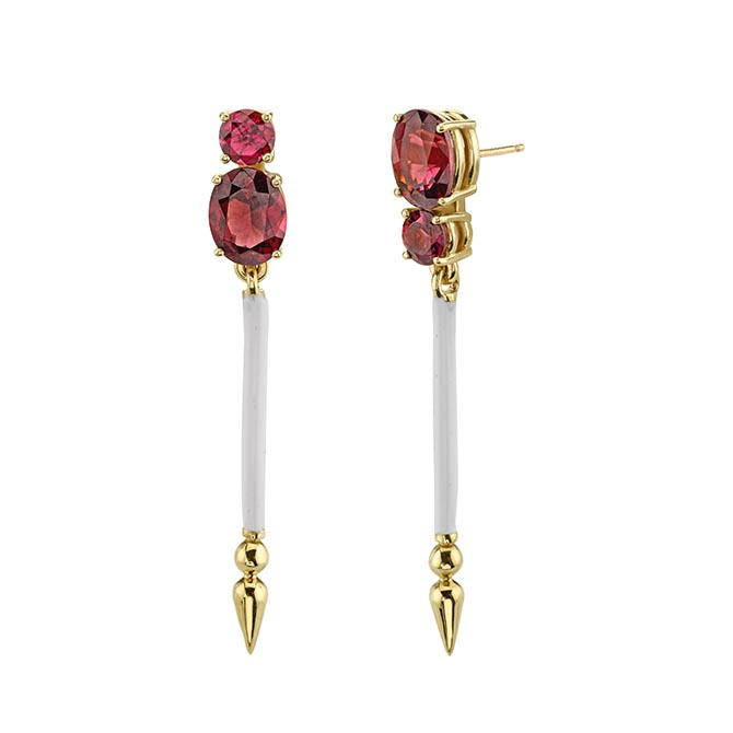 Sarah Hendler Double Rhodolite-Ballet Slipper Earrings