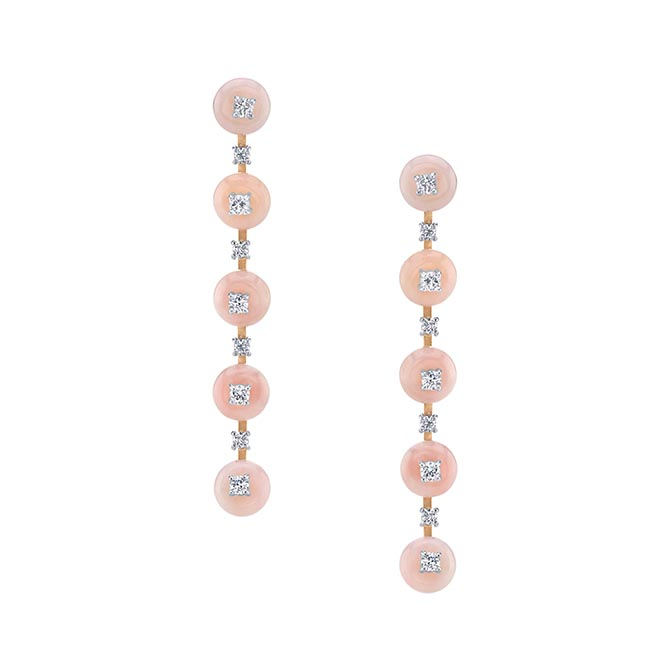Irene Neuwirth pink opal and diamond earrings