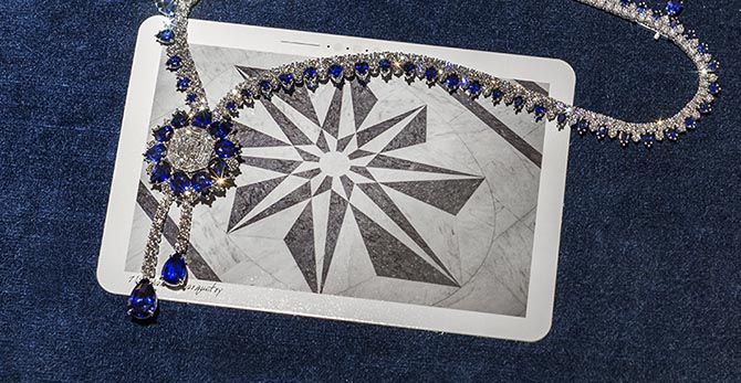 The 718 Marble Marquetry sapphire and diamond necklace echoes the graphic pattern on the floor of the flagship and every Winston boutique. Photo @AndrewWerner