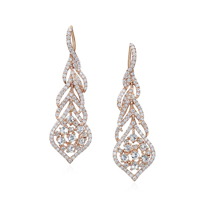 Maria Canale rose gold and diamond Peacock earrings