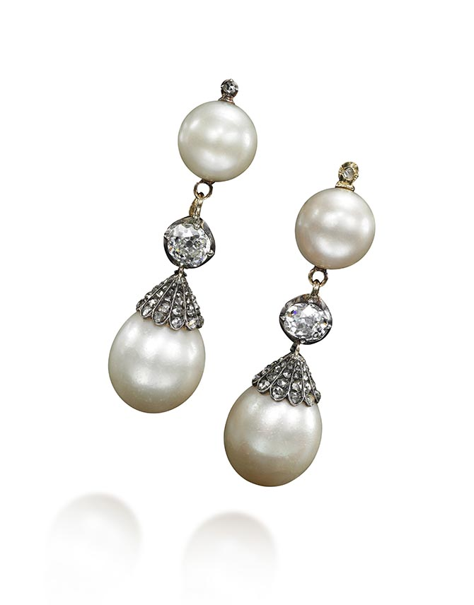 Marie Antoinette natural pearl and diamond earrings, estimate $ 200,000 – 300,000