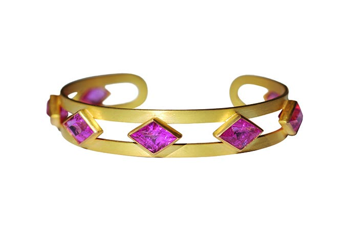 Marie-Hélène de Taillac Diamond Shape Candy Pink Tourmaline cuff 22K Yellow Gold