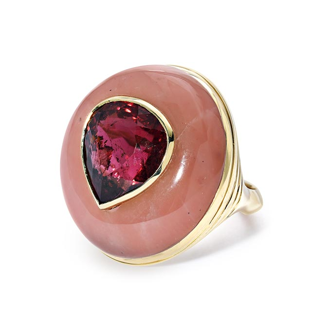Retrouvaí ring of Guava and pink tourmaline