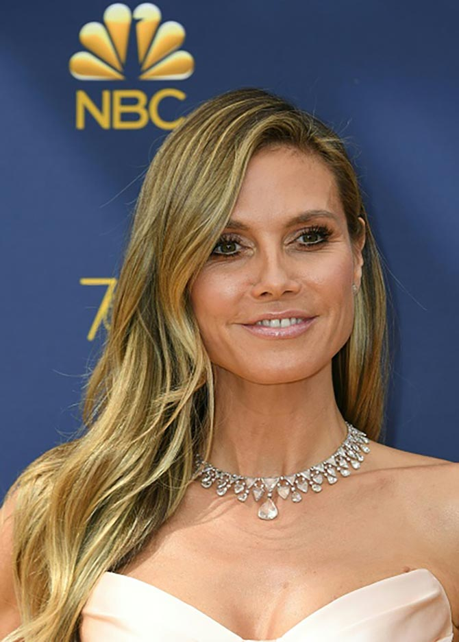 Heidi Klum wore a necklace by Lorraine Schwartz.