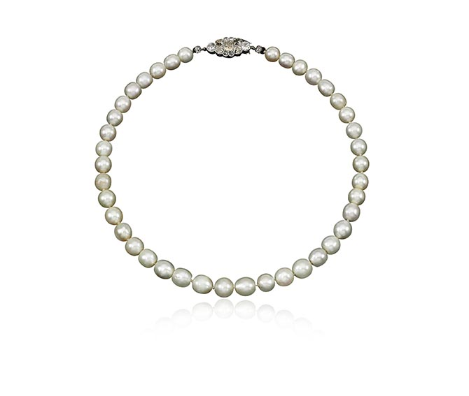 Marie Antoinette's superb single- strand natural pearl necklace, estimate $40,000 – 70,000