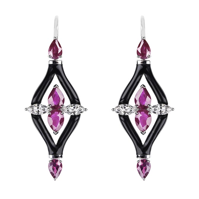 Nikos Koulis pink tourmaline, diamond and black enamel earrings