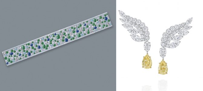 A sketch of Central Park Mosaics bracelet and the Eagle earrings from The New York Collection by Harry Winston. Photo courtesy