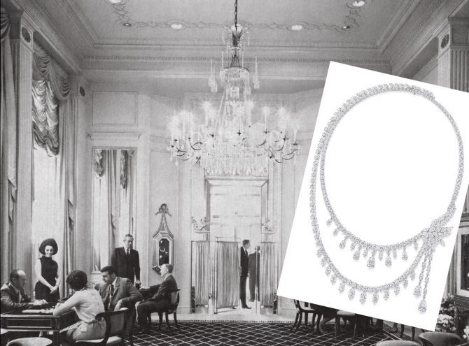 An image taken of the Harry Winston flagship in 1969 shows the chandelier and emerald-shaped vitrines with bows. The inset image is the 718 diamond chandelier necklace set with various diamond shapes. Photo courtesy