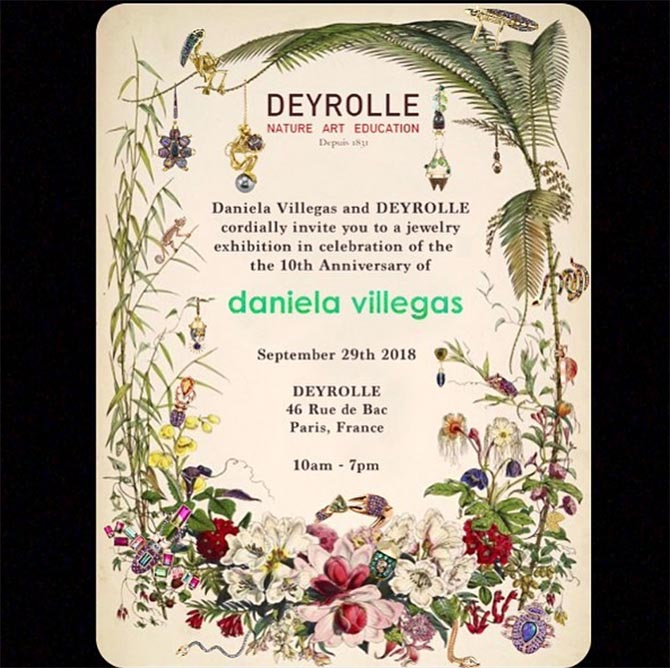 Daniela Villegas invitation to her 10th anniversary party. Photo via @danielavillegasjewelry/Instagram