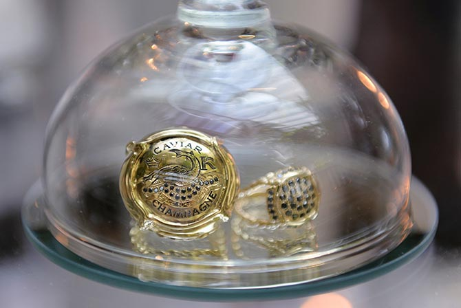 Laura Lobdell's Caviar Kaspia Champers Ring and a black diamond ring. Photo courtesy