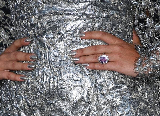 Detail shot of Lady Gaga's engagement ring at the Los Angeles premiere of 'A Star Is Born.' Photo Getty