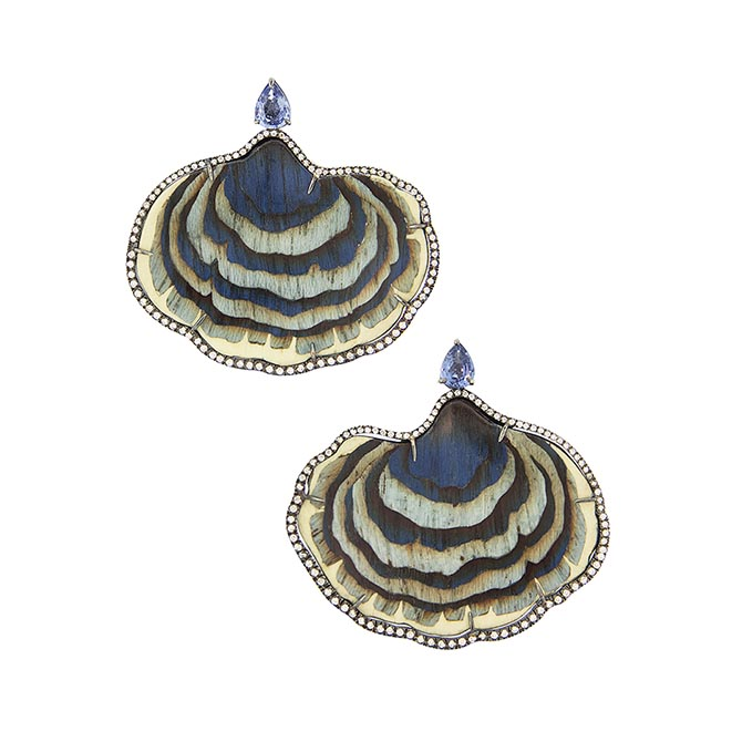 Silvia Furmanovich blue mushroom sculptural wood marquetry earrings set in 18k gold with diamonds and tanzanites. Photo courtesy