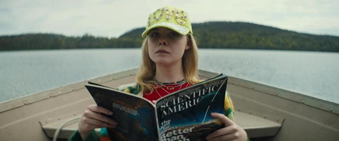 Elle Fanning wearing a Marla Aaron lock in 'I Think We're Alone Now.""