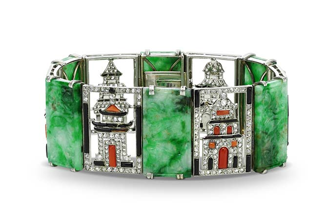 From the L'Ecole exhibit Through the Eyes of a Connoisseur: an Art Deco bracelet made of platinum, diamonds, jadeite, coral and onyx by Leroy Berlioz