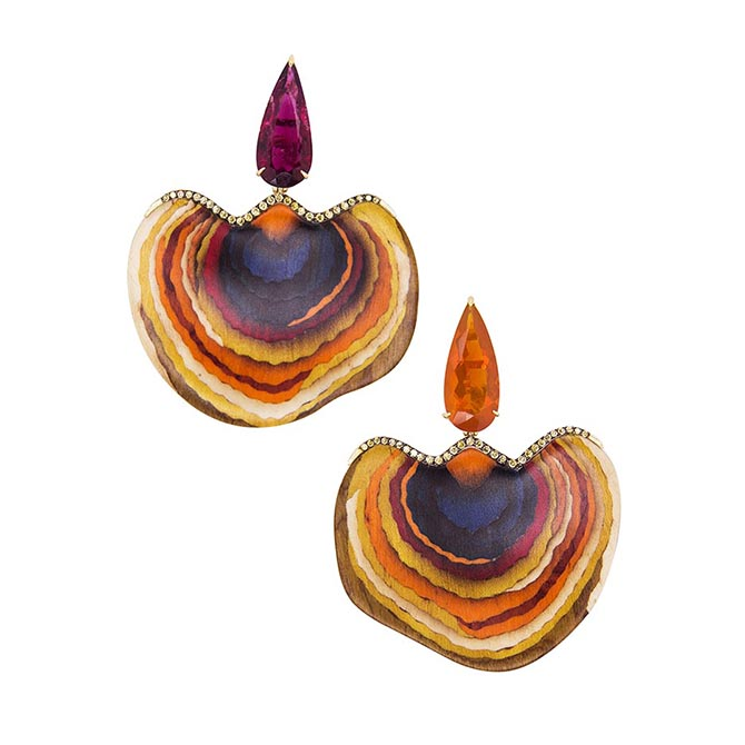 Silvia Furmanovich blue and orange mushroom sculptural wood marquetry earrings set in 18k gold with diamonds and mismatched rubellite and fire opal tops. Photo courtesy
