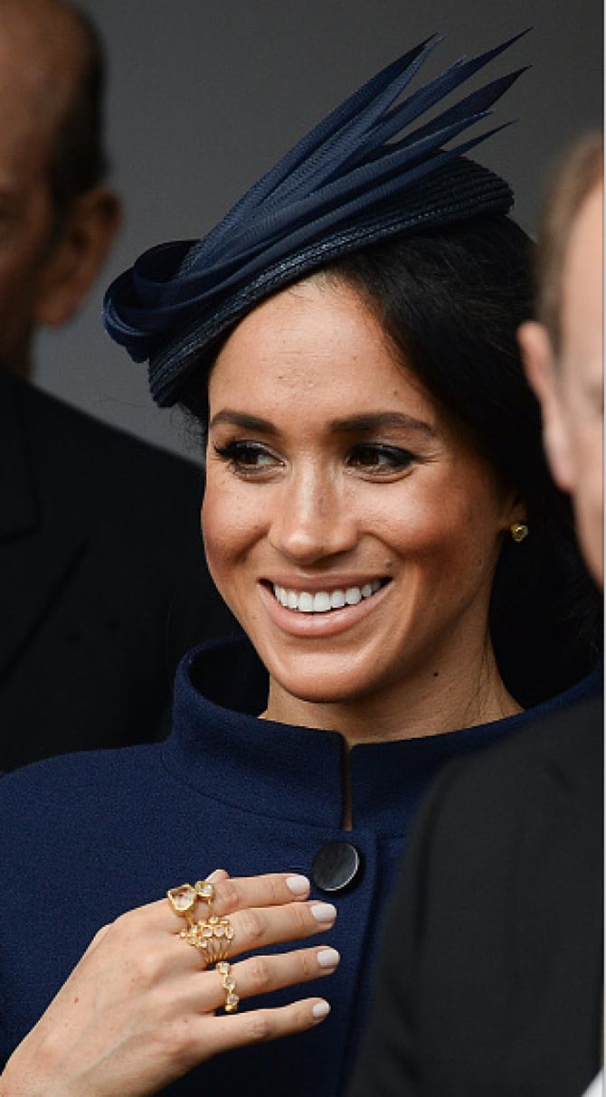 Meghan Markle wearing Pippa Small rings and earrings