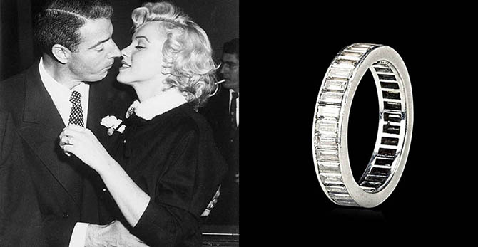 Joe DiMaggio and Marilyn Monroe kiss following their 1954 marriage ceremony in a judge's chambers in San Francisco, California; Monroe's eternity band from DiMaggio Photo Bettman Archives, Christie's