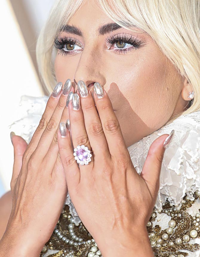 Lady Gaga wearing her engagement ring at the London premiere of A Star Is Born.' Photo Getty