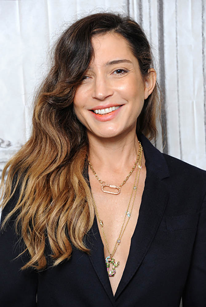 Director Reed Morano wearing Marla Aaron's gold Lock and chain and her Satirical Lock and chain. Photo Getty