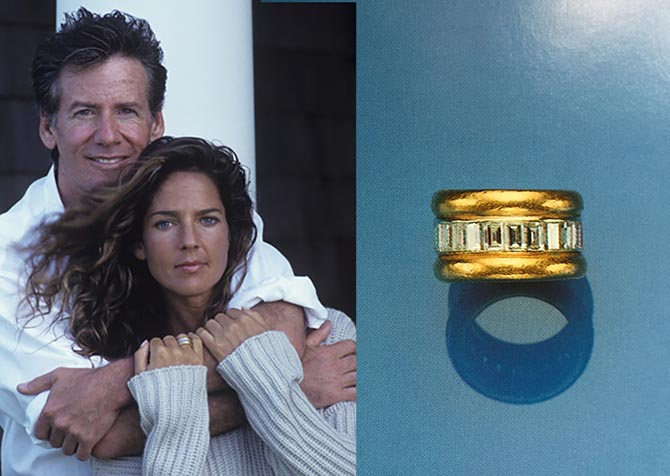 Calvin Klein posing with his wife Kelly who is wearing a diamond and gold eternity band (at right) that once belonged to the Duchess of Windsor.  Photo Getty and Sotheby's