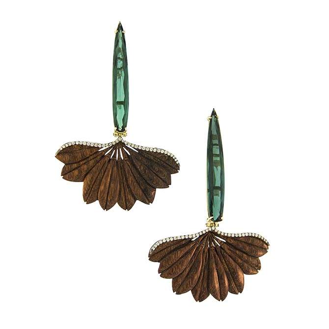 Silvia Furmanovich Ipê flower sculptural wood marquetry earrings set in 18k gold with diamonds and tourmalines. Photo courtesy