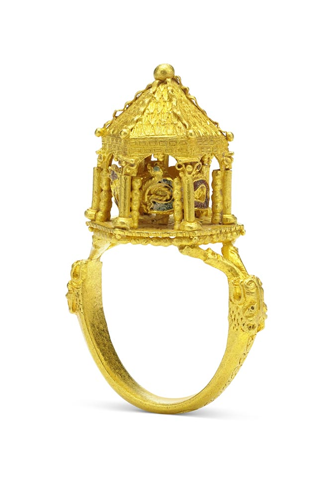 Gold and enamel Jewish wedding ring made in the 14th century from the L'Ecole exhibit 'Through the Eyes of a Connoisseur.' Photo courtesy