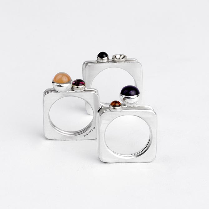 Three pairs of silver and gem-set Square Rings by Barbara Spence Photo Tim Beacham