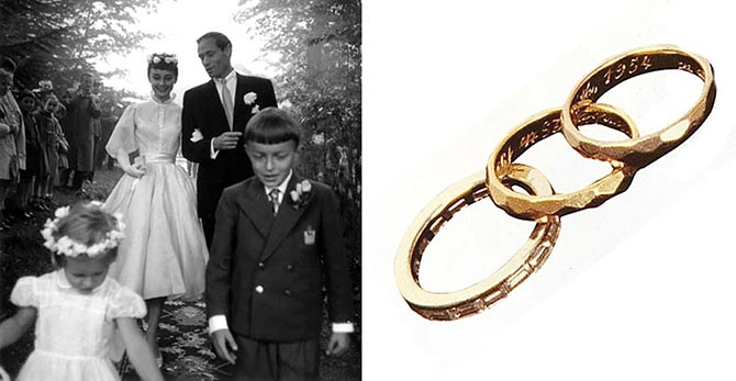 Audrey Hepburn and Mel Ferrer on their wedding day in 1954 and the star's diamond and platinum engagement ring and pink and white gold wedding bands.Photo Ernst Haas/Getty Images and Audrey Hepburn Estate, Photo by Jessica Z. Diamond, October, 2003