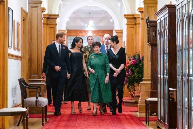 Prince Harry, Meghan Markle and dignitaries in New Zealand. Photo Kensington Palace via Twitter