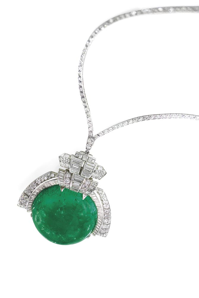 Ann Warner's 168-carat cabochon emerald and diamond necklace that is not signed but attributed to Trabert & Hoeffer-Mauboussin. Photo Christie's