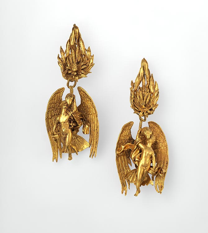 Gold earrings depicting Ganymede and the eagle made around 300 B.C. Photo courtesy of the Metropolitan Museum of Art
