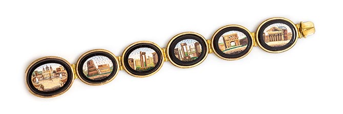 A Victorian yellow gold bracelet set with micromosaics showing highlights of a Grand Tour, estimate $1,500-$2,500 Photo Leslie Hindman Auctioneers