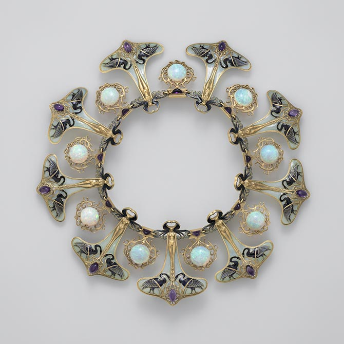 Art Nouveau enamel, opal and amethyst necklace designed by René Lalique around 1900. Photo courtesy of the Metropolitan Museum of Art