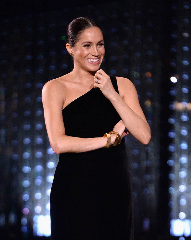 Meghan Markle wearing bracelets and studs by Pippa Small at the 2018 Fashion Awards in London. Photo Getty