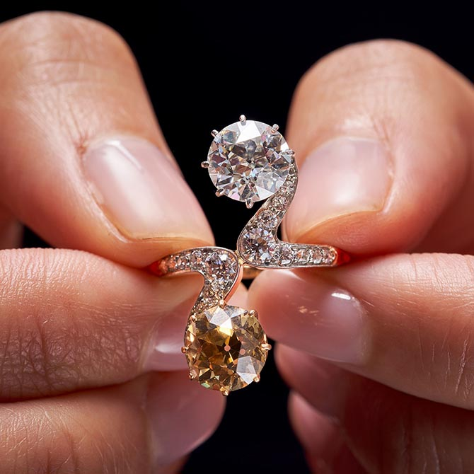 Adele Bloch-Bauer's diamond 'mot et toi' ring is set with a tinted brown and white diamond. Photo Sotheby's