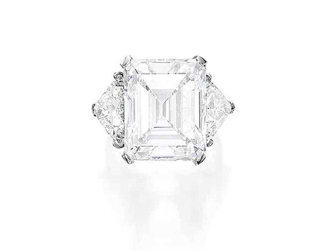 Barbara Sinatra's 20.60-carat emerald cut diamond engagement ring. Photo Sotheby's