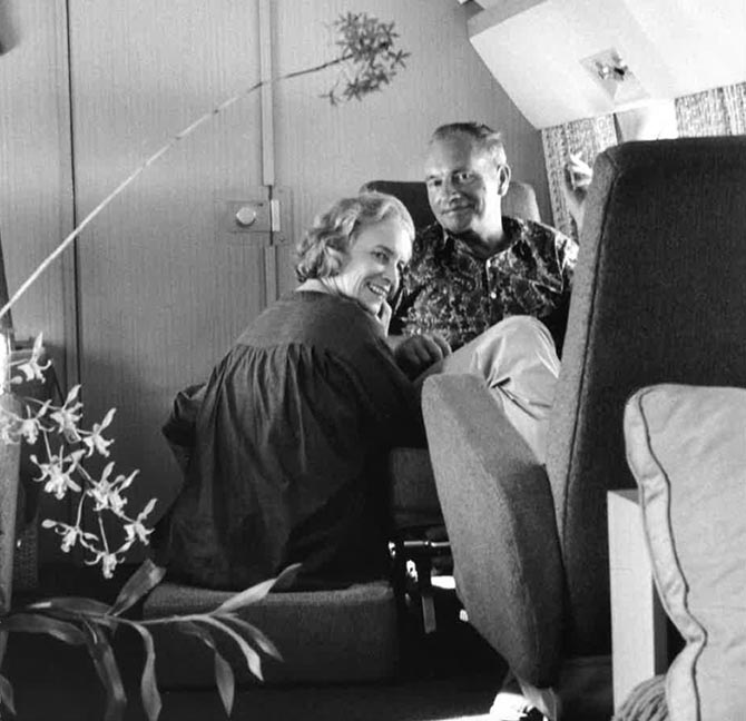 "Jean Schlumberger with Rachel ""Bunny"" Mellon on a plane around 1960 in an image take by Luc Bouchage Photo courtesy of a Private Collection"