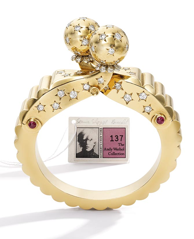 Andy Warhol's gold, diamond and ruby bracelet made by Seaman Schepps around 1940. Photo Sotheby's
