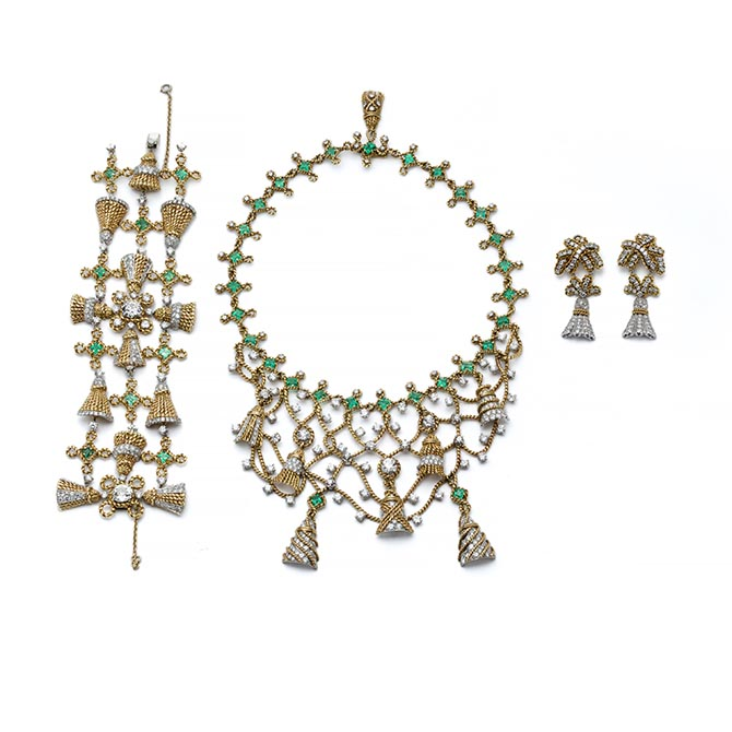 Jean Schlumberger, Gold, Emerald, and Diamond Tassel Suite, Platinum, gold, diamonds, emeralds, 1948,
